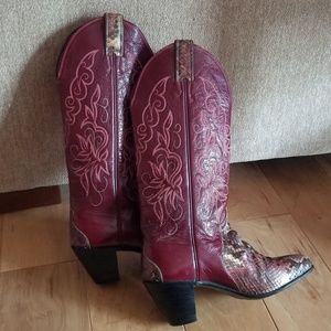 Justin Cowboy Boots Snakeskin and Leather